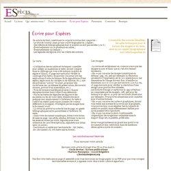 Écrire pour Espèces - Especes