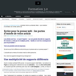 Ecrire pour la presse web : les portes d'entrée de votre article – Formation 3.0