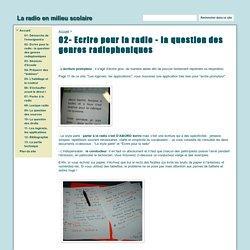 02- Ecrire pour la radio - La radio en milieu scolaire