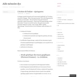 L'écriture de l'enfant – Ajuriaguerra « Aide mémoire dys