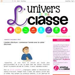 L'univers de ma classe: L'atelier d'écriture : commencer l'année avec le cahier d'écrivain