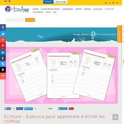 Écriture – Exercice pour apprendre à écrire les chiffres