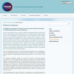 Écriture inclusive - Sociologie du travail