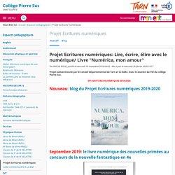 """Projet Ecritures numériques: Lire, écrire, élire avec le numérique/ Livre """"Numérica, mon amour"""" - Projet Ecritures numériques - Collège Pierre Suc"""