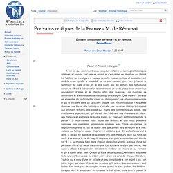 Écrivains critiques de la France - M. de Rémusat