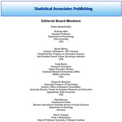 Craig Barton: Statistical Associates: Editorial Board