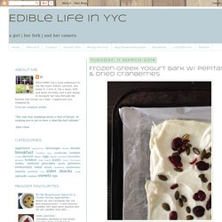 Frozen Greek Yogurt Bark w/ Pepitas & Dried Cranberries