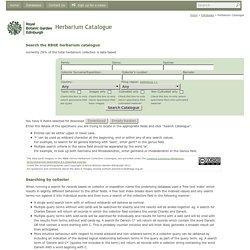 Royal Botanic Garden Edinburgh - Herbarium Catalogue
