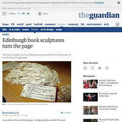Edinburgh book sculptures turn the page