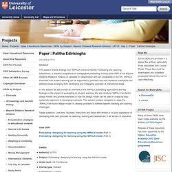 Paper : Palitha Edirisingha