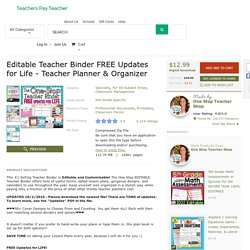Editable Teacher Binder FREE Updates for Life... by One Stop Teacher Shop