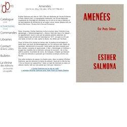 Eric PESTY Editeur - Catalogue - Livre : Amenées