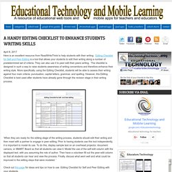 Educational Technology and Mobile Learning: A Handy Editing Checklist to Enhance Students Writing Skills