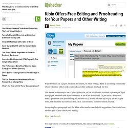 Kibin Offers Free Editing and Proofreading for Your Papers and Other Writing