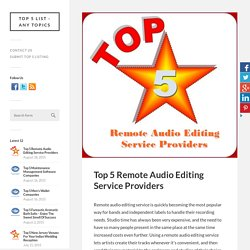 Top 5 Remote Audio Editing Service Providers