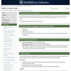 MLA 8th Edition - Citation & Style Guide - Guides at Middlebury College