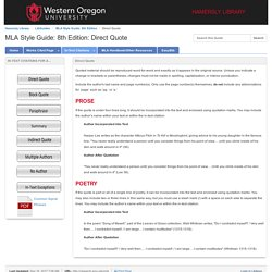 Direct Quote - MLA Style Guide: 8th Edition - LibGuides at Western Oregon University