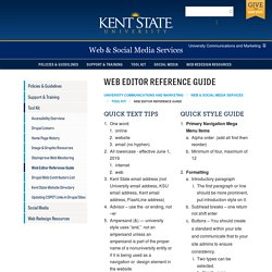 Web Editor Reference Guide