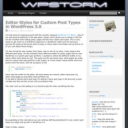 Editor Styles for Custom Post Types in WordPress 3.0 | WPStorm