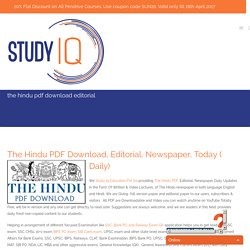 The Hindu Editorial Analysis PDF Download, Today(Daily), Newspaper, Videos