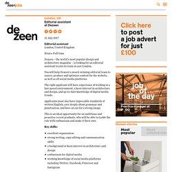Editorial assistant at Dezeen