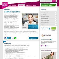 Editorial assistant Job Information
