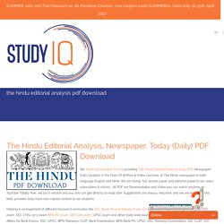 The Hindu Editorial Analysis e-Newspaper PDF Today/Daily Discussion English/Hindi