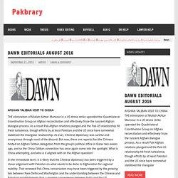 DAWN EDITORIALS AUGUST 2016 – Pakbrary