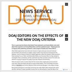 DOAJ EDITORS ON THE EFFECTS OF THE NEW DOAJ CRITERIA – News Service