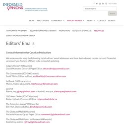 Editors' Emails – InformedOpinions.org