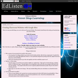 Creating Classroom Websites with Google Sites