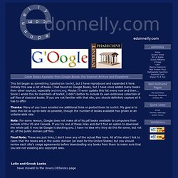 Great Books on G'Oogle and Internet Pharrchive