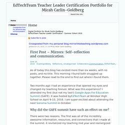 EdTechTeam Teacher Leader Certification Portfolio for Micah Carlin-Goldberg
