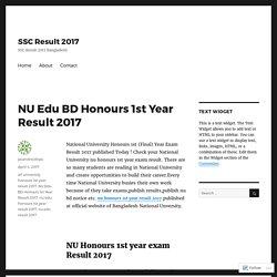 NU Edu BD Honours 1st Year Result 2017 – SSC Result 2017