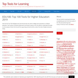 EDU100: Top 100 Tools for Higher Education 2019 – Top Tools for Learning 2019