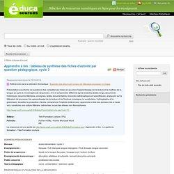 Apprendre à lire : tableau de synthèse des fiches d'activité par question pédagogique, cycle 3