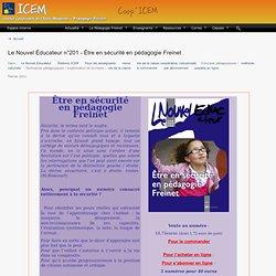 Le Nouvel Éducateur n°201 - Être en sécurité en pédagogie Freinet