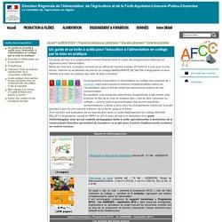 DRAAF ALPC 08/08/16 Un guide et sa boite à outils pour l'éducation à l'alimentation en collège par la mise en pratique