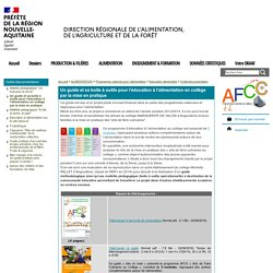 Un guide et sa boite à outils pour l'éducation à l'alimentation en collège par la mise en pratique - DRAAF Nouvelle-Aquitaine