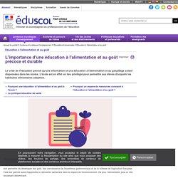 Éducation à l'alimentation - Une éducation à l'alimentation précoce et durable