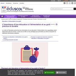 Éducation à l'alimentation et au goût - Une éducation à l'alimentation et au goût précoce et durable