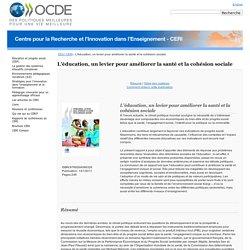 L'éducation, un levier pour améliorer la santé et la cohésion sociale - OCDE
