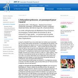 L'éducation précoce, un passeport pour l'avenir - ART 21 - Association Romande Trisomie 21