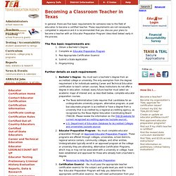Becoming a Classroom Teacher in Texas