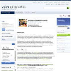 Single-Subject Research Design - Education - Oxford Bibliographies