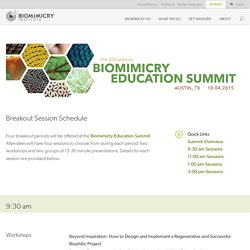 8th Annual Education Summit - Breakout Sessions – Biomimicry Institute