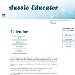 Education Calendar for January to March