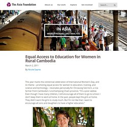 Equal Access to Education for Women in Rural Cambodia - The Asia Foundation