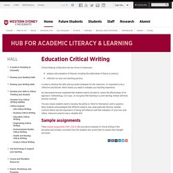 Education Critical Writing