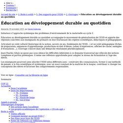 Éducation au développement durable au quotidien